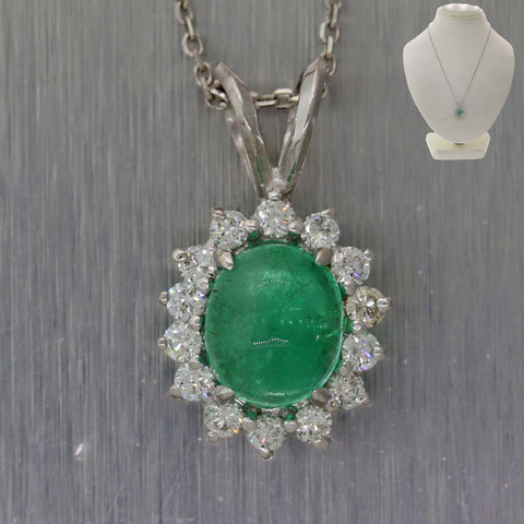 Oval 2.12ct Green Emerald Platinum Gold .50ct Diamond Halo Pendant Chain Necklace
