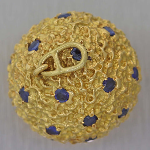 Vintage 1970s 18k Yellow Gold 2.50ctw Sapphire Large 25mm Ball Pendant Necklace