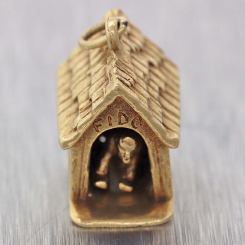 Vintage Solid 14k Yellow Gold Man In Dog House Charm Pendant