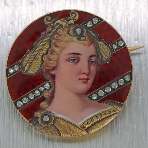 1850s Antique Victorian 18k Hand Painted Rose Diamond Violin Lady Portrait Brooch Pin