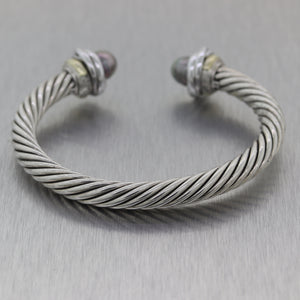 David Yurman Sterling Silver & 14k Yellow Gold Black Pearl Cable Bracelet Cuff