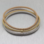 Italian 18k Tri-Colored Gold Bangle Bracelets