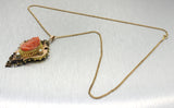 1880s Antique Victorian 10k Solid Yellow Rose Gold Red Coral Pendant Necklace