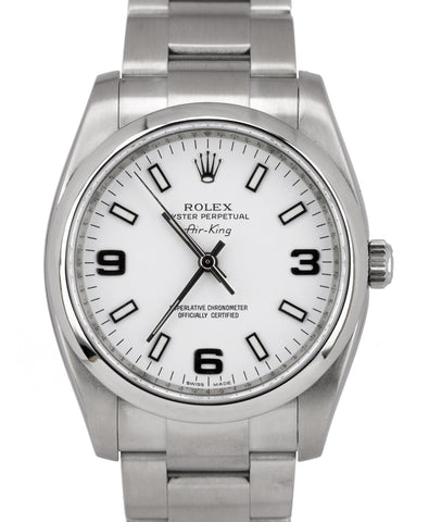 MINT Rolex Air-King Oyster Perpetual White Roman Stainless 114200 34mm Watch
