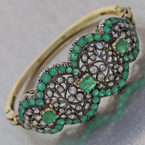 1890s Antique Victorian Silver on Gold 5ct Emerald Rose Cut Diamond Bangle Bracelet
