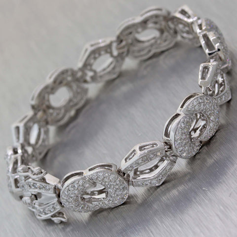 Modern 18k White Gold 5.00ctw Diamond 11mm Wide Tennis Bracelet