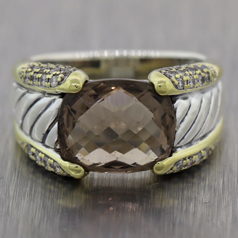 David Yurman Sterling Silver & 18k Yellow Gold Smoky Quartz & Diamond Ring