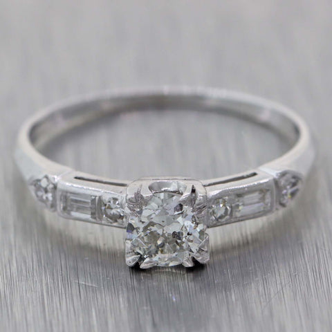 Round 0.41ct Diamond 1920s Antique Art Deco Platinum .56ctw Engagement Ring