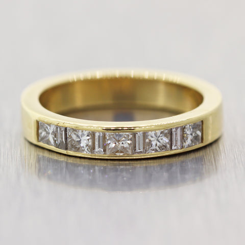 Vintage Estate 18k Yellow Gold 1.00ctw Diamond Channel Set Wedding Band Ring