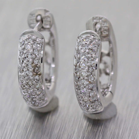 Ladies 14k White Gold .30ctw Diamond 3mm Huggie Hoop Earrings
