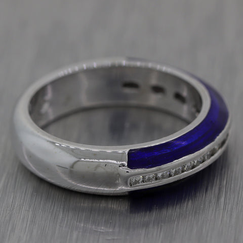 Hidalgo 18k White Gold 0.46ctw Blue Enamel & Diamond Band Ring