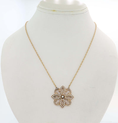 1880s Antique Victorian 14k Rose Gold Seed Pearl Pendant Necklace E8