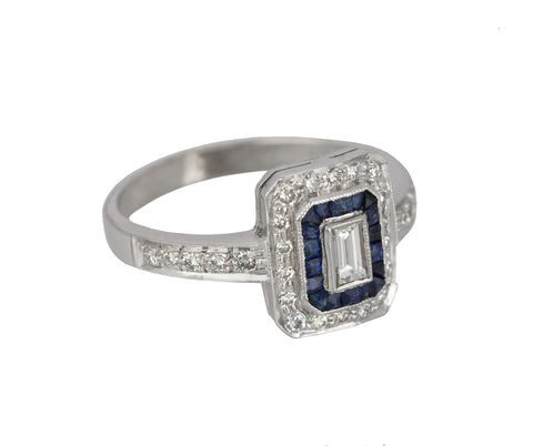 Womens Estate 18K White Gold 0.20ct Diamond Emerald-Cut Sapphire Engagement Ring