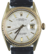 1971 Rolex DateJust 1601 36mm 14K Yellow Gold Fluted 36mm Silver Linen Date