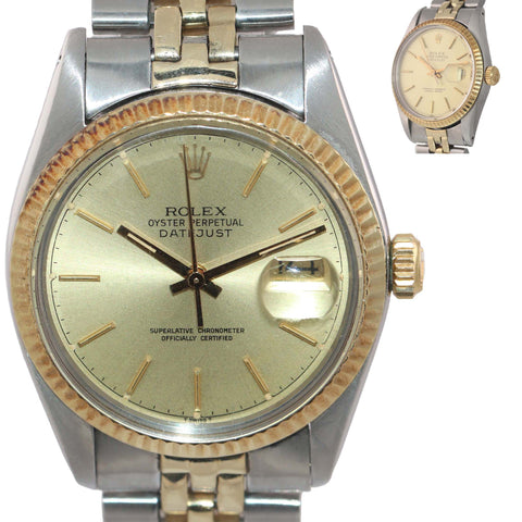 Rolex DateJust 16013 Two-Tone 18k Gold Steel Jubilee Champagne Dial Watch