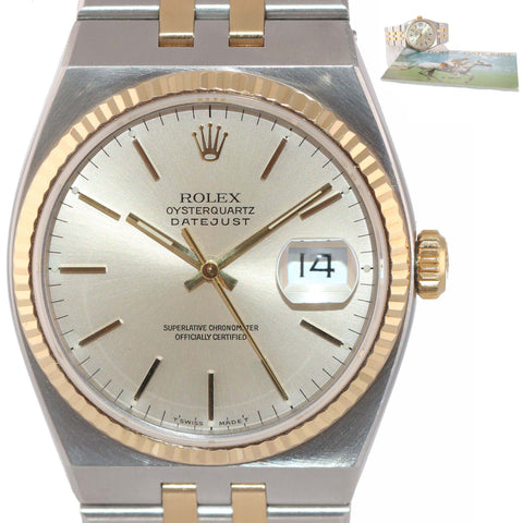 MINT Rolex OysterQuartz DateJust 17013 Two-Tone Gold Steel Integral Watch