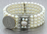 Antique Art Deco 14k Solid White Gold .60ct Diamond 6mm Pearl 4 Row Bracelet