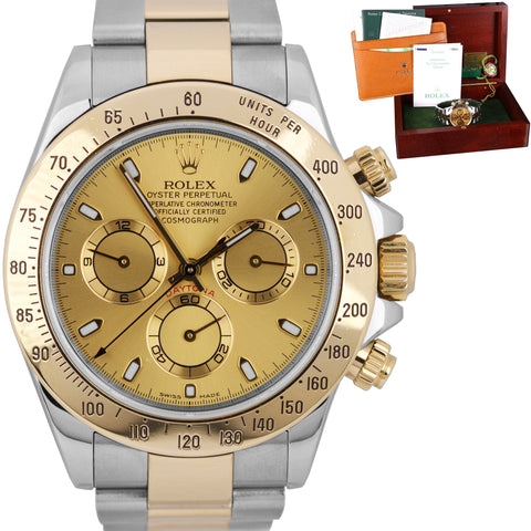 Rolex Daytona Cosmograph 116523 Stainless Gold Champagne Chronograph 40mm Watch