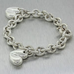 Authentic Barry Kieselstein Sterling Silver Cord Two Heart Charm Bracelet