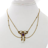 1870s Antique Victorian 14k Solid Yellow Gold Pearl Amethyst Pendant Necklace