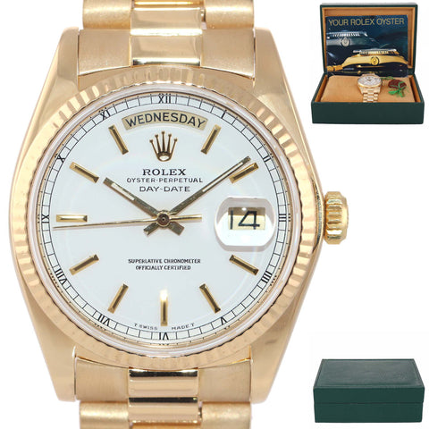 MINT Rolex Day-Date President 18038 Quickset 18k Yellow Gold White Stick Dial Box