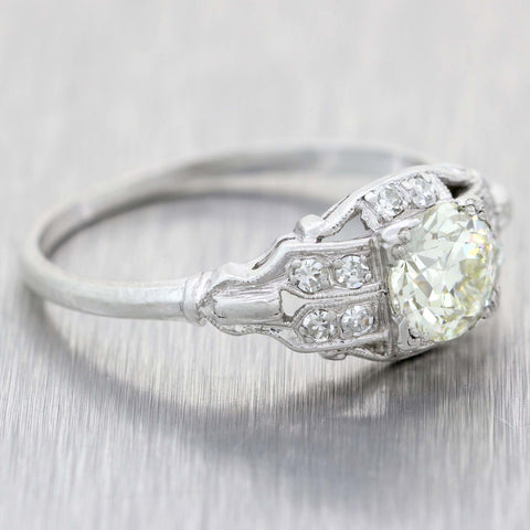 Round Cut 1.02ct EGL Platinum Diamond 1.2ctw Antique Art Deco Engagement Ring t1