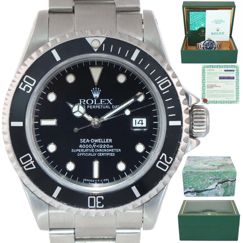 PAPERS 2019 SERVICE Rolex Sea-Dweller Steel 16600 TRITIUM 40mm Black Watch Box