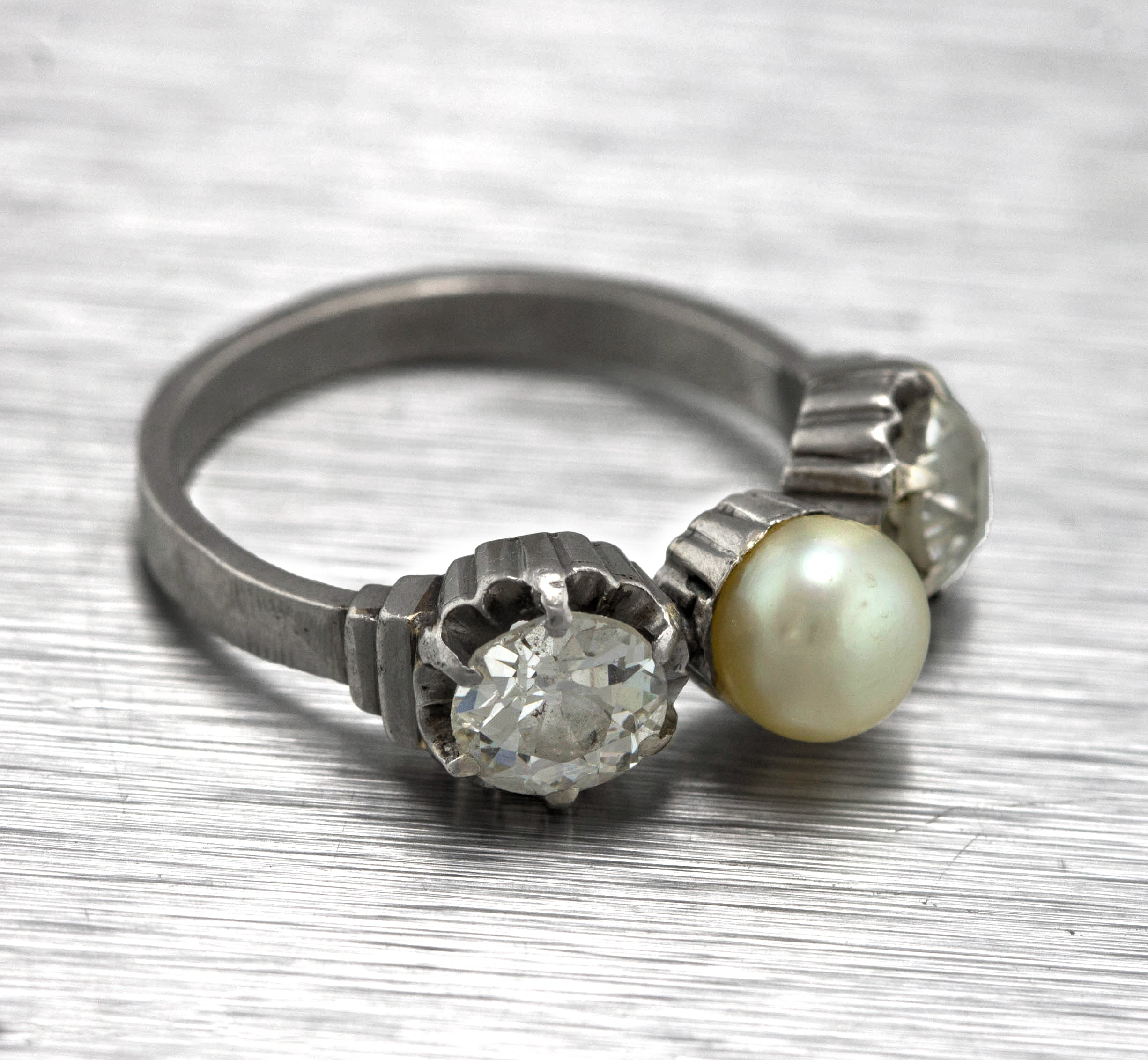 Ladies Antique Estate 14K White Gold 1 CT Old Mine Diamond Pearl Cocktail Ring