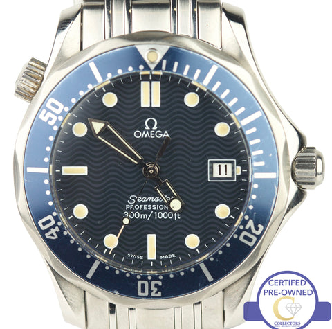 Men's Omega Seamaster Professional 300M 2561.80 Blue Wave Quartz 36mm Watch