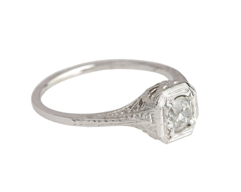 Antique Art Deco Platinum 0.37 CT Solitaire Diamond Filigree Engagement Ring
