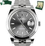2017 Rolex DateJust 41 126334 Gray Rhodium 41mm Fluted Gold Stainless Jubilee