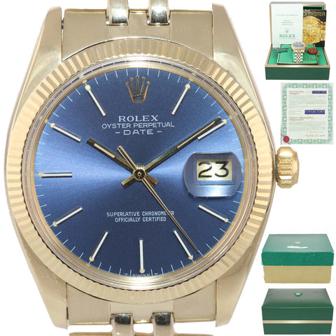 PAPERS 2019 SERVICE Blue Rolex Oyster Perpetual Date 34mm 14k Yellow Gold 1503 Watch