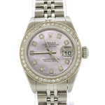Ladies Rolex DateJust Steel 79174 26mm Pink MOP Diamond Bezel Watch w/ Box