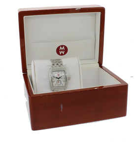 MINT Ladies Michele Urban Mini Steel Diamond MW02A00A0942 29mm Watch w Box
