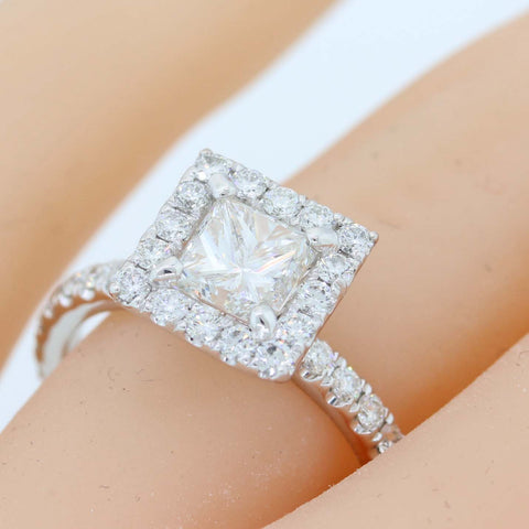 Princess Cut 1.02ct EGL Platinum Diamond Halo 1.82ctw Engagement Ring t1