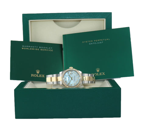 PAPERS Ladies Rolex DateJust Mid-Size 31mm MOP Diamond 178383 Gold Steel Watch