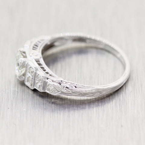 1930's Antique Art Deco 14k White Gold 0.54ctw Diamond Engagement Ring