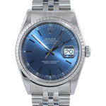 2002 MINT PAPERS Rolex DateJust 36mm 16220 Steel Blue Stick Jubilee Date Watch