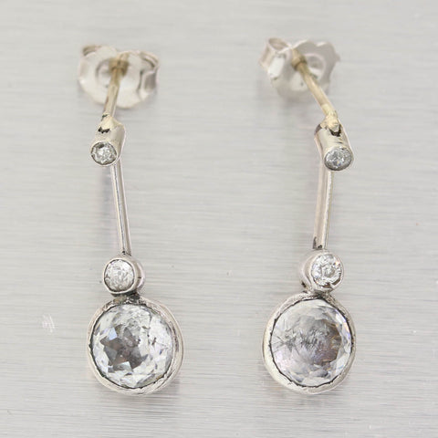 1930's Antique Art Deco 14k White Gold Diamond & White Sapphire Drop Earrings