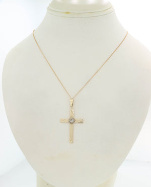 "1930's Antique Art Deco 14k Yellow Gold Diamond Cross 20"" Necklace"