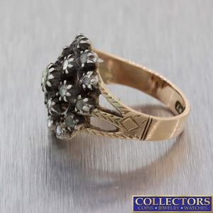 1880s Antique Victorian Estate Silver Rose Gold Diamond Cluster Ring E8