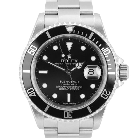 2005 UNPOLISHED Rolex Submariner Date 16610 F NO HOLES SEL 40mm Black Watch