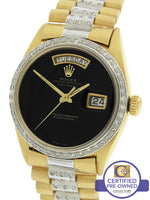 Rolex Day-Date President 36mm Diamond Black 1803 Yellow White Gold Presidential