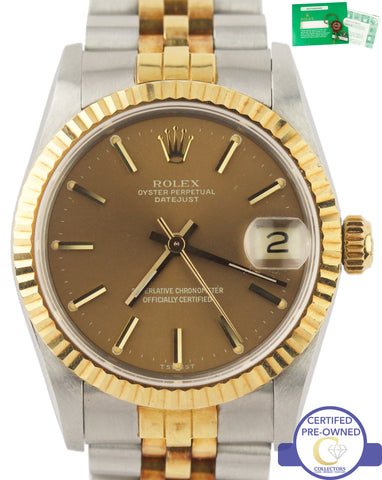 NOS Rolex DateJust Midsize 31mm 68273 Champagne Two-Tone 18k Stainless Watch