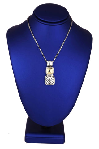 Women's David Yurman 925 Sterling Silver 18K Gold Square Cable Pendant Necklace