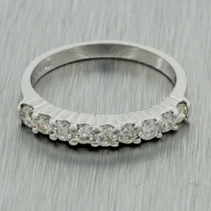 Vintage Estate 18k Solid White Gold 1.00ct H/SI1 Diamond Wedding Band Ring