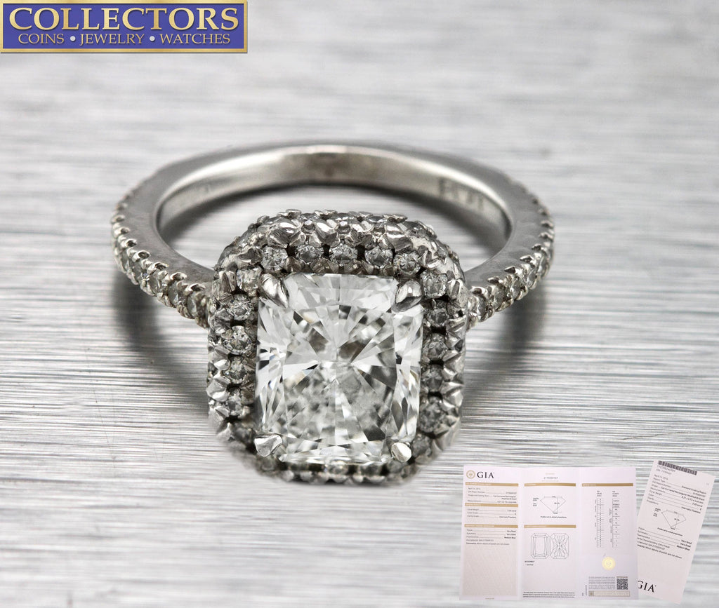 Platinum 2.20 CT E Flawless Diamond Radiant Cut Engagement Ring GIA