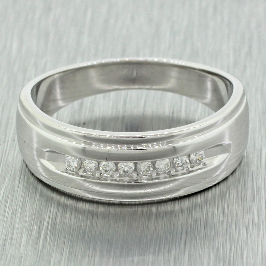 Mens Modern 14k Solid White Gold .40ct Round Cut Diamond Wedding Band Ring