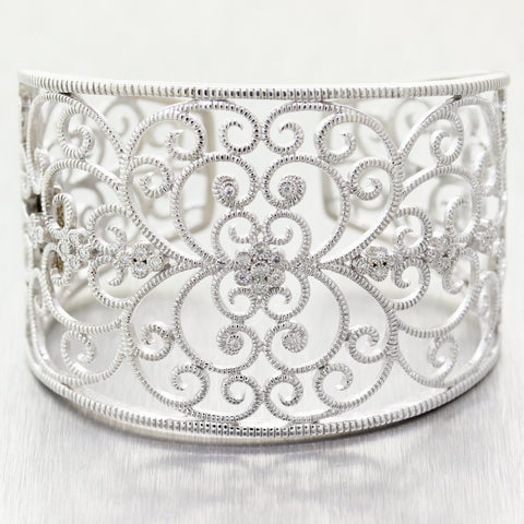 Vintage Estate 14k White Gold & Steel 0.35ctw Diamond Filigree Cuff Bracelet