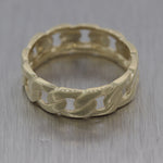 Vintage Estate Men's 14k Yellow Gold Cuban Wedding Band Ring